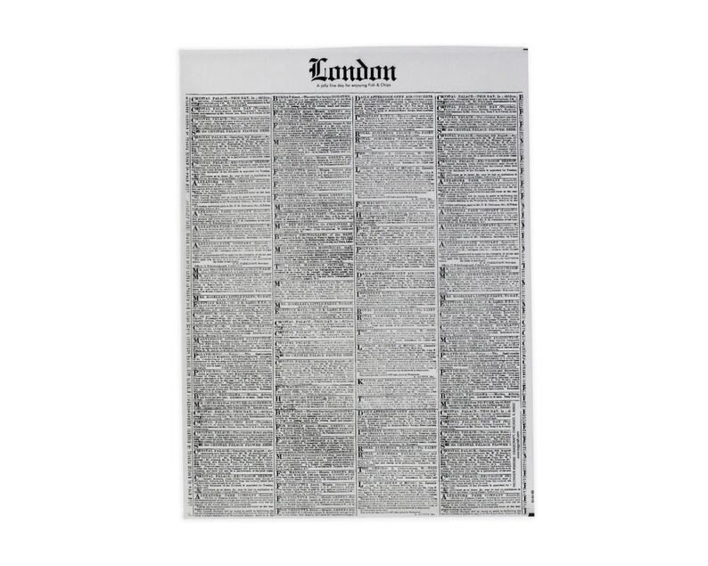 16 x 12 Newspaper Sandwich Wrap Fish and Chips Party Black and White London Newsprint Deli Wrap Food Box Liner Anniversary Party Decor