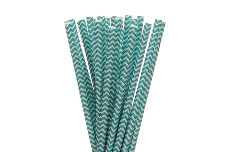 Paper Straws Teal Chevron Paper Straws Sweet 16 Party Decor image 0