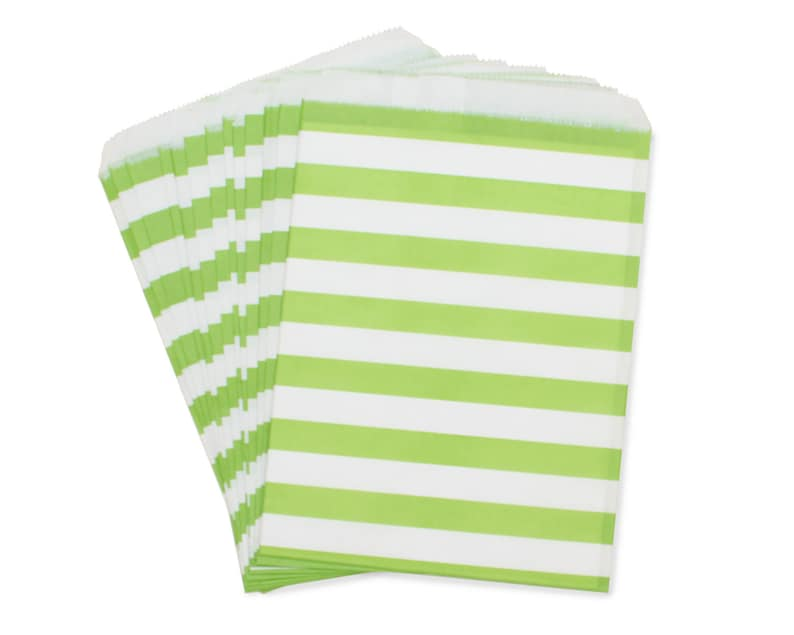 Party Favor Bag Paper Favor Bags Lime Green Rugby Striped image 0