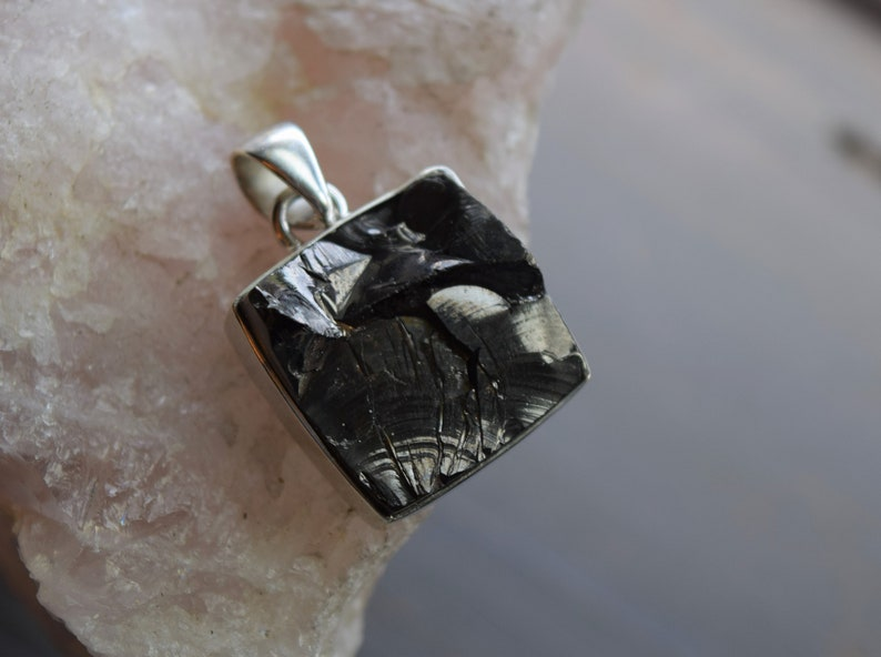 Sterling Silver Shungite Pendant with Chain