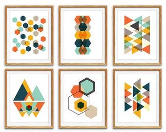 Geometric Prints, Printable Art, Scandinavian Art, Wall Art Prints, Digital Print, Set of 6 Prints, Minimalist Art, Geometric Art