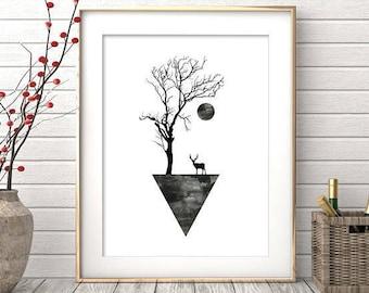 Geometric Wall Art, Digital Print, Black and White Print, Minimalist Decor, Geometric Art, Abstract Poster, Art Prints, Printable Download