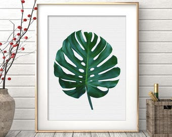 Modern Minimal Botanical Wall Art, Monstera Leaf Print, Large Printable Poster, Green Plant Leaves, Digital Download, Tropical Decor
