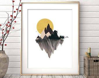 Mountain Print, Printable Art, Watercolor Print, Wall Art Print, Digital Print, Mountain Art, Watercolor Painting, Watercolor Mountain
