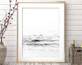 Ocean Print, Minimalist, Black and White Print, Ocean Wall Art, Printable Art, Ocean Photography, Ocean Wall Print, Ocean Poster, Art Prints