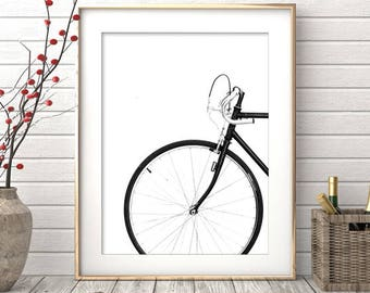 Bicycle Print, Printable Photo, Scandinavian Wall Art, Digital Download, Wheel Print, Black Bike Art, Modern Prints, Vintage Bike Print