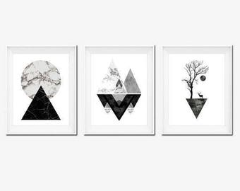 Set 3 Prints, Instant Download Printable Art, Black and White Prints, Wall Art Prints, Modern Art, Black and White Art, Wall Prints