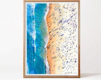 Contemporary Beach Wall Art, Beach Print, Digital Download,Aerial Beach Print, Sand, Sea Poster, Modern Beach Photography, Busy Beach Poster