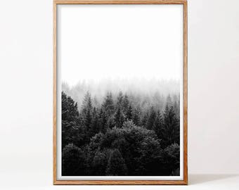 Forest Print, Modern Art, Minimalist Wall Art, Forest Art, Black and White Print, Photography, Landscape, Minimalist Print, Nordic Design