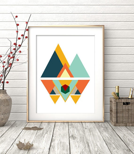 mid century modern art wall art prints geometric print etsy. Black Bedroom Furniture Sets. Home Design Ideas