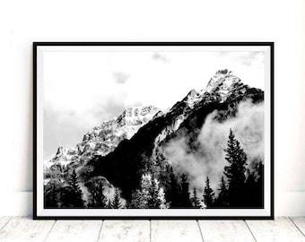 Mountain Print, Landscape Print, Mountain Wall Art, Black and White Print, Wall Print Art, Printable Art, Mountain Art, Mountain Photo Print