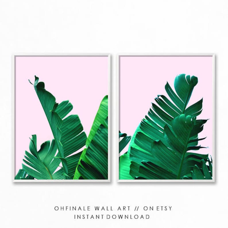 Pink And Green Wall Art Palm Leaf Print Palm Printable Art Etsy