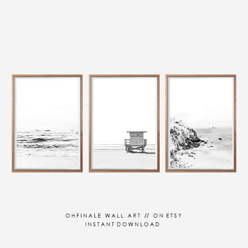 Ocean Print, Black and White Prints, Beach Print, Coastal Print, Set of 3  Prints, Printable Art, Seascape Print, Ocean Waves Art Prints
