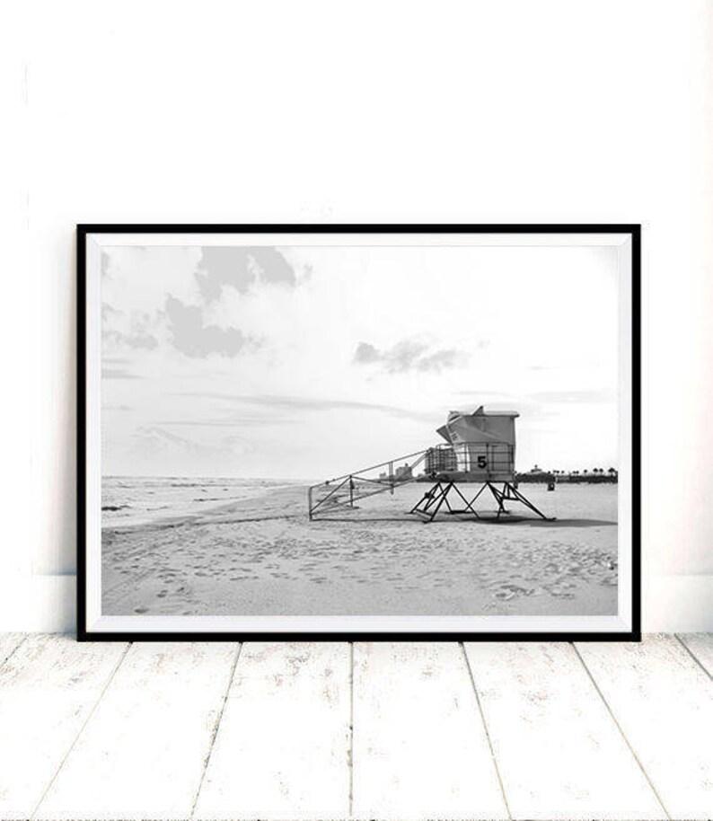b285448f5ad8 Beach Print Lifeguard Tower Printable Art Black and White