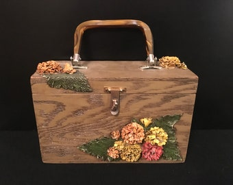 59977918d92e Vintage Mid Century Box Purse Wood with Resin 3D Flowers Brass Latch and  Lucite Handle