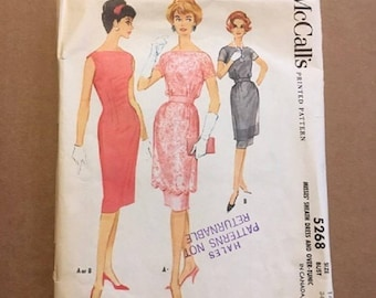Vintage McCall's Printed Pattern Misses Sheath Dress and Over Tunic Size 14 Bust 34 Pattern # 5268