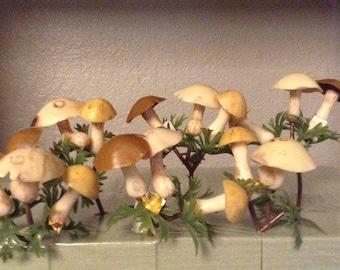 Vintage Mushrooms Floral Picks Plastic Neutrals (photo is of 1 bag)