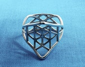 Geometrical silver ring, 3D printed jewellery,flower of life, mandala, Dinea Design - Elevation collection