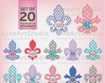 Fleur De Lis Monogram Set Of 20 - Svg Files - SVG Cutting Files - Cutting Files for Silhouette Cameo or Cricut - Instant Download