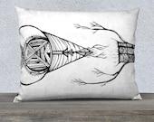 Decorative throw pillow - First Nations print pillow - decorative pillow - pillow sham - black and white - pencil sketch - original art