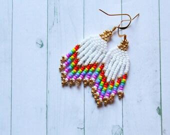 Rainbow Mini Fringe Beaded earrings — Indigenous Beadwork — Cree Beading — Native Artist — Mini Beaded Earrings