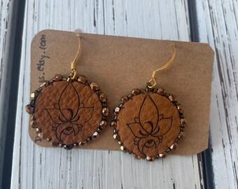 Floral Beaded earrings laser engraved onto deer hide — Indigenous Beadwork — Cree Beading — Native Artist