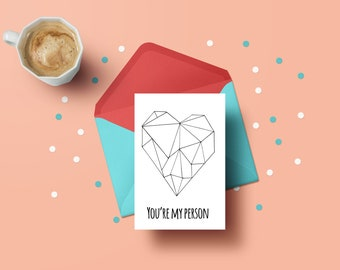 You're my person Valentines day or birthday Card — Fun Kids Birthday Card — Humour Birthday Card — Romantic Card — Grey's Anatomy Card