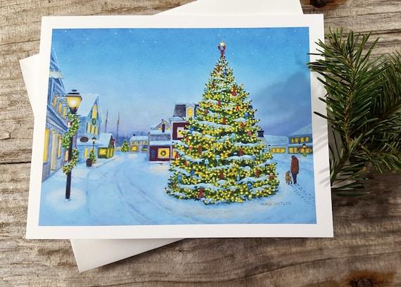 Etsy Christmas Cards.Maine Christmas Card Prelude Christmas Card Kennebunkport Christmas Coastal Christmas Maine Holiday Card Christmas Tree Lighting Maine