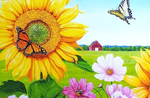 Sonnenblume Druck Bauernhof drucken Sonnenblumen Gemälde | Etsy