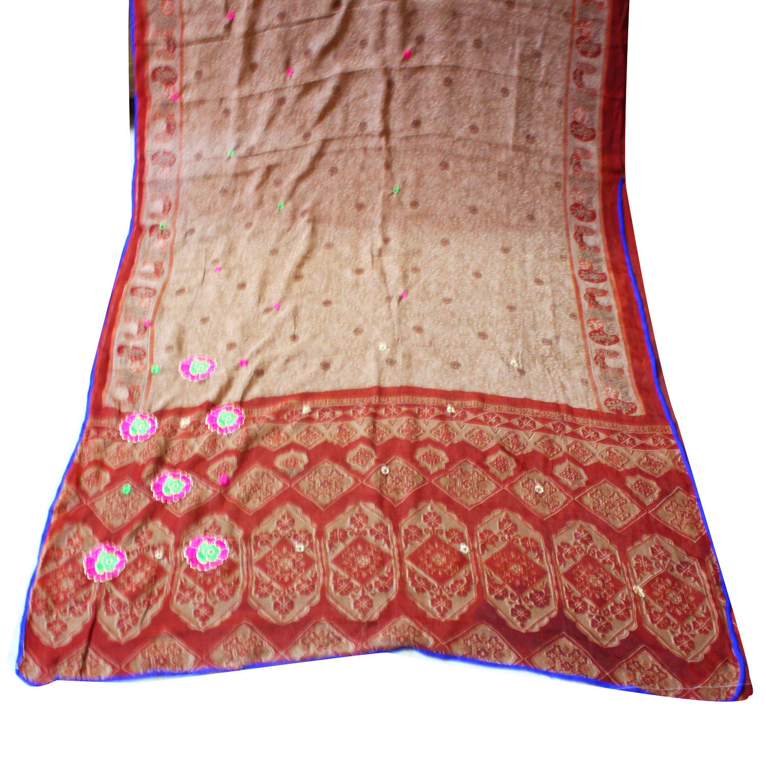 Indian Printed Saree Women Beige Craft Fabric Sewing Georgette Used Embroidered Dressmaking Recycled Fabric Sari Curtain Drape Fabric