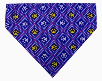 Dog Bandana S M L Diamond Paws Print Slides on Collar Dogs Neck Scarf Tie  - Pet Clothes Clothing Accessories Puppy Apparel