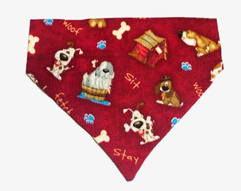Dog Bandana S M L  Red Dog Print  Slides on Collar  Dogs  Neck Scarf Tie - Pet Clothes Clothing Accessories Puppy