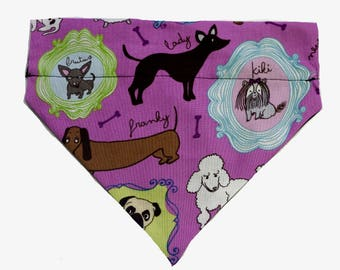 Dog Bandana S M L  Purple Dog Print  Slides on Collar  Dogs  Neck Scarf Tie - Pet Clothes Clothing Accessories Puppy