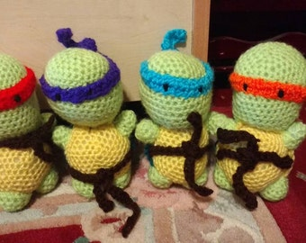 Crocheted amigurumi ninja turtles