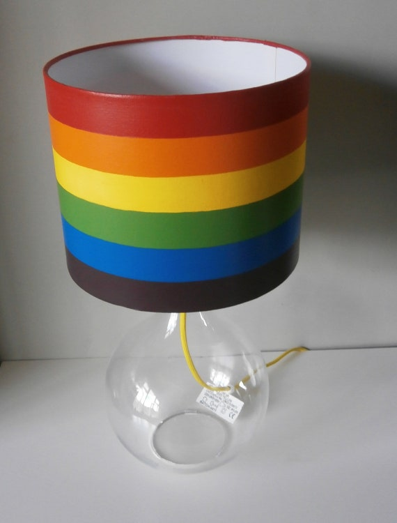 Rainbow Table Lamp Bedside Lamp Desk Lamp Hand Painted Lampshade Glass Lamp Base Lamp Multicolour Stripes Woven Yellow Cord Modern Décor
