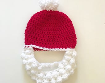 Santa hat with beard! Red and white crochet Father Christmas hat with pom  pom attached becee432ab6