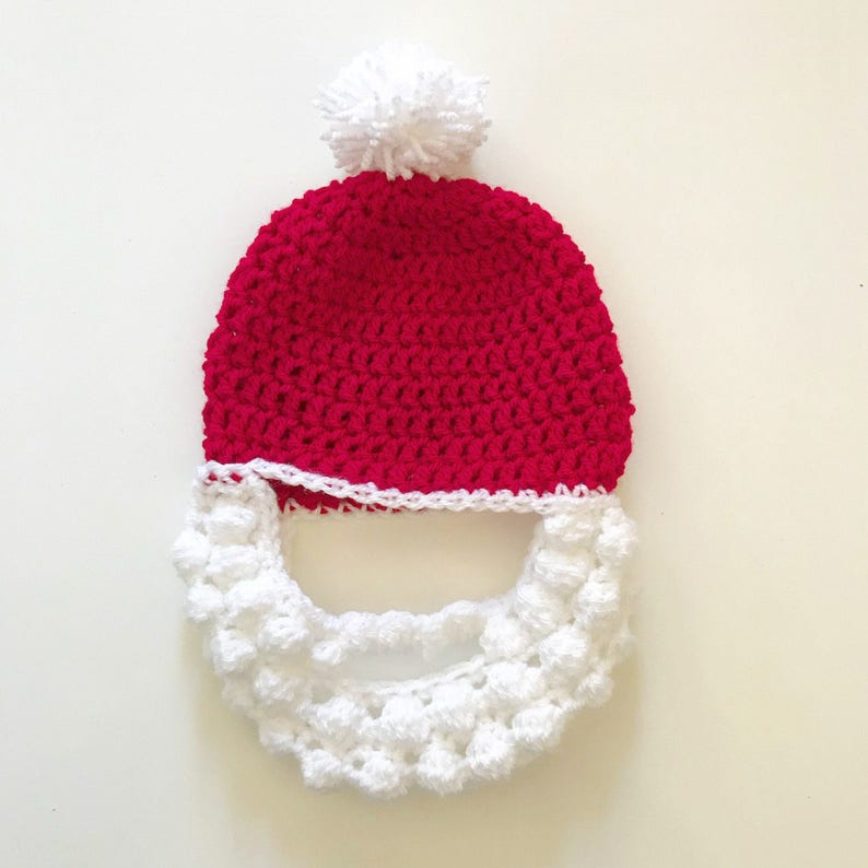 a17dc23ec8e Santa hat with beard Red and white crochet Father Christmas