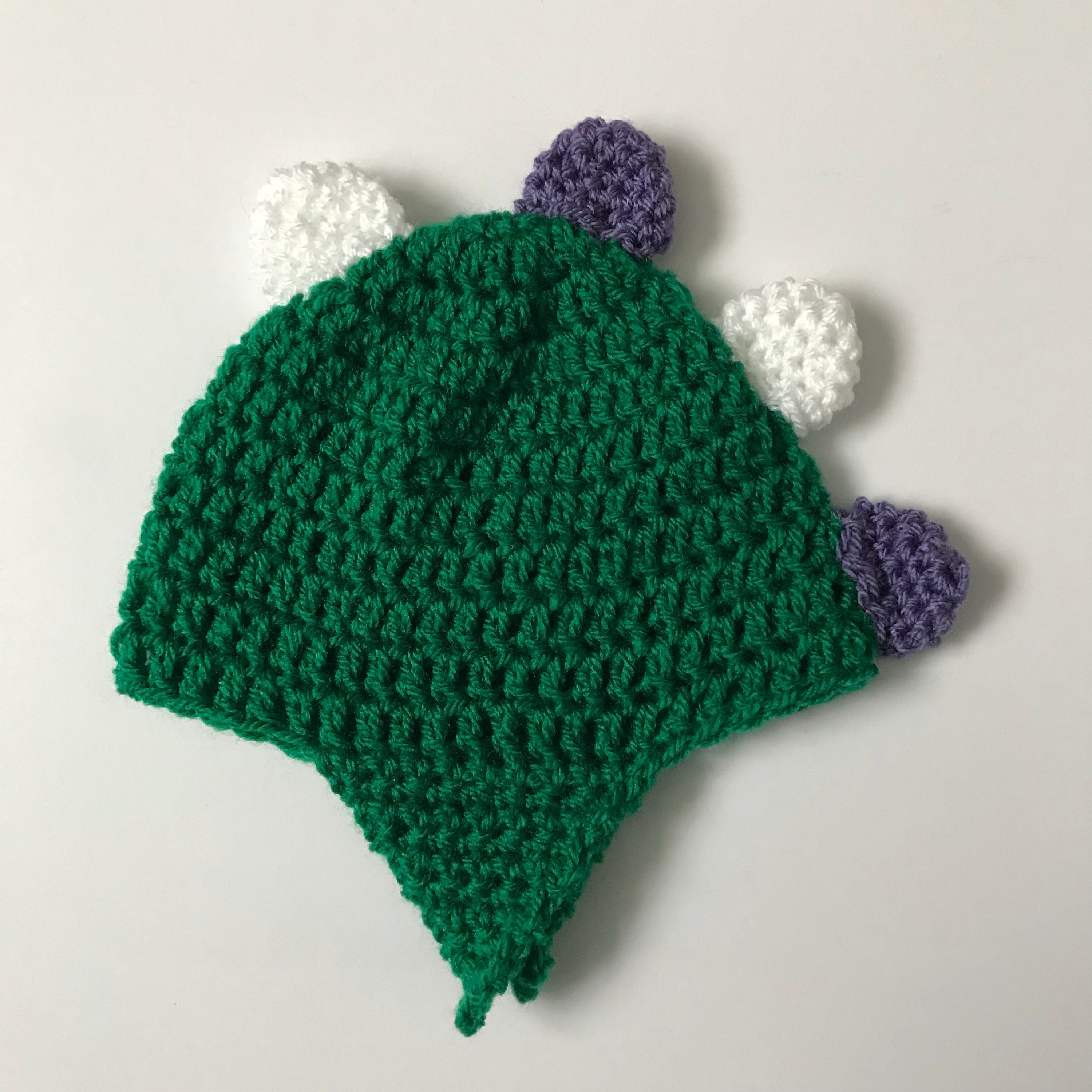 Green dinosaur beanie hat with purple and white spikes  53e2147431b