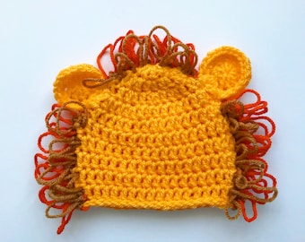 Lion beanie hat! Yellow crochet lion hat, with an orange and brown mane, for all ages!