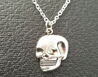 Vintage SKULL Necklace WITCHCRAFT Silver Gothic Occult
