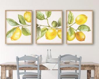 Lemon Print Set Of 3 U2013 Lemon Decor Kitchen Wall Decor Kitchen Wall Art  Fruit Decoration Watercolor Citrus Print For Vintage Kitchen Decor