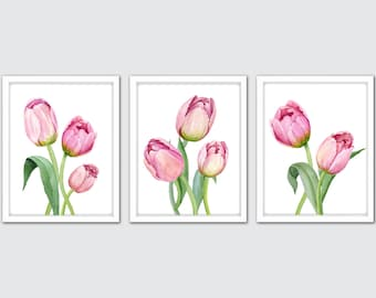 Watercolor Tulip Art Prints – Set of 3 Pink Tulip Wall Art