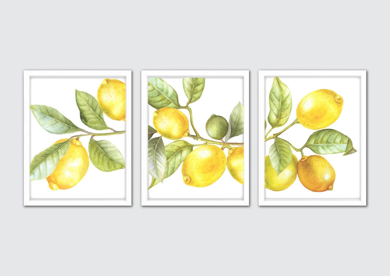 Zitrone Kunstdruck Aquarell Küche Wandkunst Set von 3