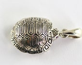 Vintage Style Turtle With Ruby Eyes Pill Box Pendant 925 Sterling Silver