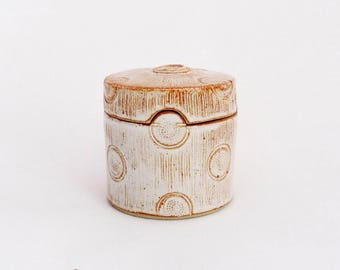 Right box, lines and dots, white glaze, stoneware