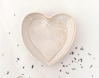 White heart dish, foliage decor, stoneware