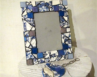 Statement pendant, picture frame, mosaic, mixed media, christmas gift