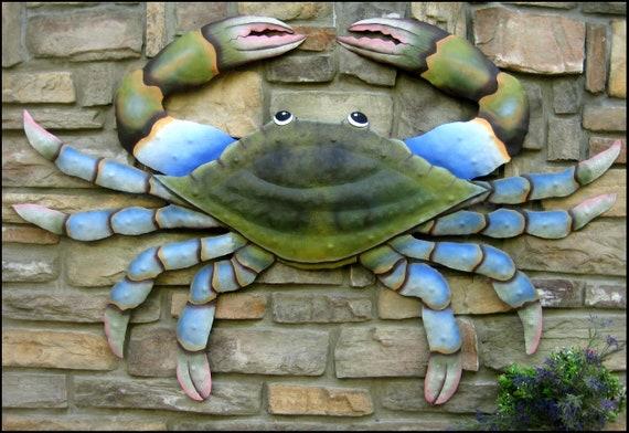 Painted Metal Crab Wall Hanging Crab Metal Wall Art Nautical Etsy
