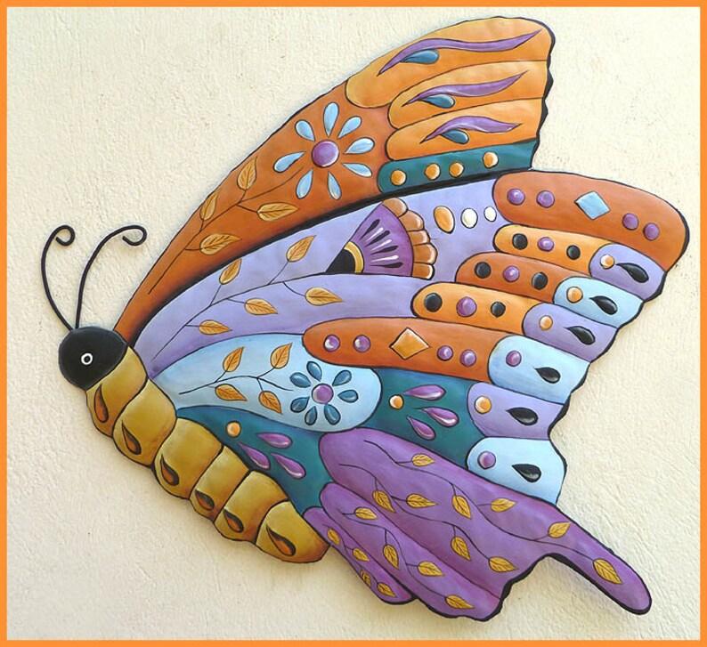Metal Art Outdoor Metal Wall Art Butterfly Metal Wall Hanging Painted Metal Art Garden Decor Butterflies Tropical Decor J 904 Pu