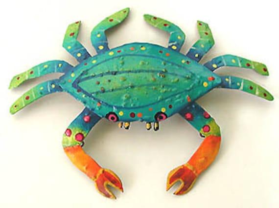 Painted Metal Crab Wall Hanging Garden Art Garden Decor | Etsy